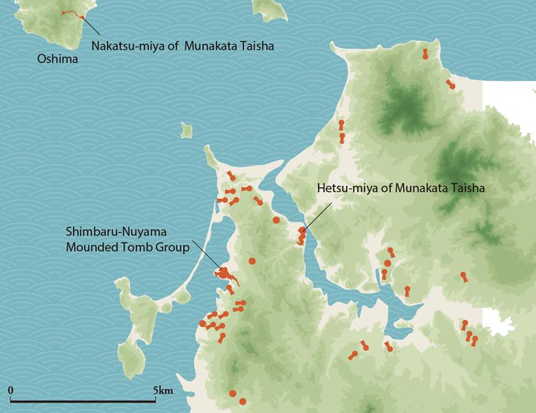 宗像地域の入海範囲と大型古墳の分布