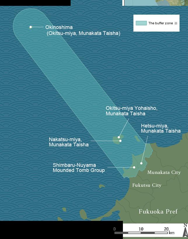 遺産群の位置および緩衝地帯の範囲